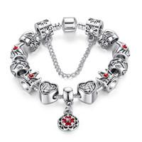 encantos de la corona roja al por mayor-Pulseras del encanto del estilo europeo Crown Purse Silver Charms Red del esmalte Flower Dangle Pulseras elegantes del brazalete para las mujeres BL080