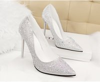 Wholesale Gorgeous Rhinestone Wedding Heels - 2015 Lady Gorgeous Nightclub Evening Shoes High Heels Rhinestones Ponited Toe Sandals Woman Wedding Bridal Dress Shoes