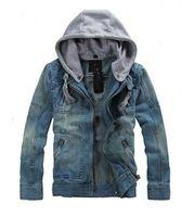 Wholesale Denim Jacket Vintage - Fashion Men Denim Jackets Long Sleeve With Removable Hat Washed Vintage Man Jean Coats Men's Outwears Size S-5xl B3604