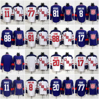 ingrosso kane usa hockey jersey-Maglie da hockey su ghiaccio 2016 della squadra USA World Cup 88 Patrick Kane 17 Ryan Kesler 8 Joe Pavelski 32 Jonathan Quick 77 TJ Oshie Stitched Jersey