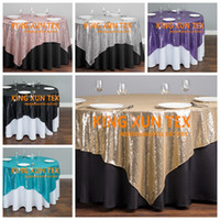 Wholesale Wedding Overlay Cloths Wholesale - Wholesale Price Sequin Table Overlay \ Cheap Sequin Wedding Table Cloth For Party And Event Decoration Free Shipping
