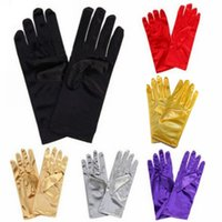 Wholesale Satin Gloves White Short - Full Finger Short Bridal Gloves Satin Wrist Length Adult Wedding Party Gloves Cheap Wedding Accessories In-Stock Free Shipping New Arrival