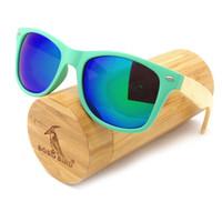Wholesale Gift Box Sunglasses - 2017 Newest Hot Sell Wood Sunglasses Designer Natrual Bamboo Sunglass Eyewear Glasses Style Hand Made Wooden Plastic Frame Portable Gift Box