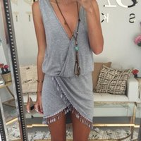 black smock - 2015 Casual Summer Dress Fringe Tassel Dresses Sexy Grey V Neck Tulip Smock Waist Front Wrap Women Summer Dress Vestido Vestidos Z00330