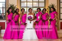 sirena rosa sirena vestidos de dama de honor al por mayor-Melón de agua Árabe Sirena barata Vestidos de dama de honor 2019 Un hombro Fuschia Rosa sin espalda Barato Bajo 100 Vestidos de fiesta de noche