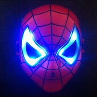 Wholesale Spider Mask - Halloween Hoilday Cosplay Mask Spider Man Mask With Led light Children Festival Iron Man mask for Masquerade Party