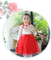 Wholesale Cheap Gift Bows - Girls cheongsam Children's clothes Little girls Chinese flower skirt Children princess dress Free shipping Cheap high quality gifts Stage