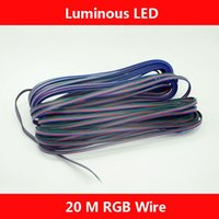 Wholesale Blue Black Red Green Connector - 20 meters 4 Pin 4 Channels Extension Electric Wire Cable Blue Red Green Black Led Connector For RGB 5050 3528 Stirp Light 22 AWG