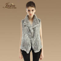 Wholesale Brown Gilet - Wholesale-Fashion Real Knitted Rabbit Fur Vest Natural Female Irregular Rabbit Fur Gilet Genuine Winter Warm Rabbit Fur Waistcoats