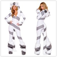 Wholesale Sexy Costume Furry - Cosplay Zentai Catsuit Costumes For Women Pretty Kitty Catsuit Cat Costume Set Furry Outfit Front Zipper Croth O31148