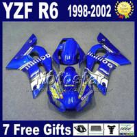 kit de cuerpo de 99 r6 al por mayor-Kit de cuerpo de carenado ABS para YAMAHA YZF-R6 1998-2002 azul blanco GO !!!!! conjunto de carrocería de plástico YZF600 YZF R6 98 99 00 01 02 VB77