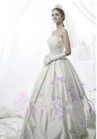 Wholesale Scalloped Strapless Wedding Dress - 2015 NEW Elegant New White Wedding Dress Scalloped Customized Lace Bridal Gown Floor-length Fitted Bow Pleats Satin Vestido De Noiva