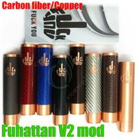Wholesale Top E Cig Mechanical Mods - Top Fuhattan V2 mods full mechanical mod carbon fiber with FU*CK YOU logo mech 1:1 clone 18650 battery Manhattan Apollo vapor mods e cig DHL