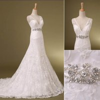 Wholesale New Hot Elegant Bridal Gown - 2015 New Lace Wedding Dresses With Sheer Straps Crystals Sash Backless A Line Court Train Elegant Hot In Stock Real Images Bridal Gowns hot