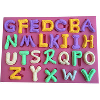 Wholesale Tools For Fondant Letters - 26 English Letter Design Christmas Fondant Silicone Cake Mold For Cupcake Cake Decorating Tools Candy cake stencils decoration