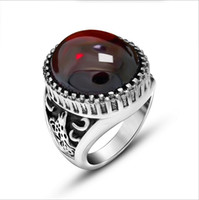 Wholesale Nice Wedding Rings For Men - High Quality Vintage Red Black Gemstone Rings For Men Women 316L Stainless Steel Punk Rock Jewelry Free Shipping Nice Gift R569