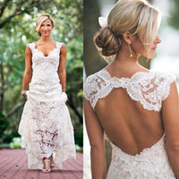 Wholesale Lace Dress Embroidery Champagne - 2017 Full Lace Wedding Dresses Country Style Pluging V-neck Cap Sleeves Keyhole Back A Line Vintage Custom Made Bridal Gowns Vestios
