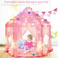 All'ingrosso-Portatile Bambini Bambini Baby Pink Blue Princess Castle Play Toy Tende da giardino all'aperto Pieghevole Pet Tenda Pop Up Playhouse per bambini regalo