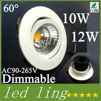 CREE LED Downlights COB LED Downlight 10w 12w Epistar Dimmable Recolhido Down Light Ceiling Espanha Style Bedroom LED Lamp + Driver Warranty CE