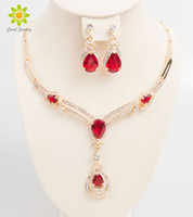 Wholesale Ruby Bridal - Wedding Bridal Dress Accessories African Beads Jewelry Sets Zircon Beads 18K Gold Plated Holiday Party Necklace Earrings Set
