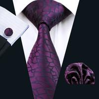 kravat seti hırka kol düğmesi toptan satış-Mor Ipek Kravat Set Hanky Kol Düğmeleri Erkek Jakarlı Dokuma İş Kravat 8.5 cm Genişlik Casual Set N-1004