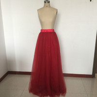 Wholesale Lace Over Silk Dress - 2016 RealTulle Deep Red Bridesmaid Dresses Petticoats Over Skirts For Maid of Honor Dresses Silk Satin Linning Semi 45'' Formal Dresses