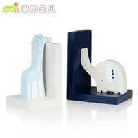 Wholesale Bookends Ship - Cute Cartoon Giraffe & elephant combinated bookends fashion desk decoration for kids room study room 2pcs set,free shipping