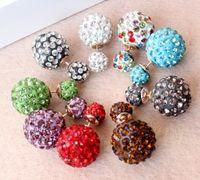 Wholesale Clay Diamond Balls Wholesale - 8mm&14mm disco crystal ball stud earrings clay bead earring woman girl Double ball Ear ring diamond double bead 30pairs