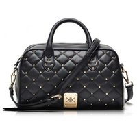 Wholesale Rivet Bag Beige - Wholesale-Fashion high quality leather handbags kim Kardashian plaid rivet shoulder bag famous brand handbag women messenger bags work bag