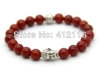 Wholesale Exquisite Stone - 2014 Hot Sale 10pcs lot Exquisite Buddha Bracelets With Natural Red black Agate, Yellow Tiger Eye, White and Turqoise stone