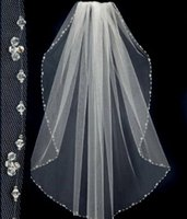 Wholesale Waltz Length - 2015 New Design Short Wedding Veils With The Beaded Pinterest Popular White Cheap Veils Bridal One Layer Wedding Lace Veil