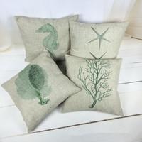 Wholesale Pure Linen Bedding - 2016 Hot Sale Pillow Cover Pure Cotton Linen Home Bed Decorative Vintage Throw Pillow Cases Euro Simple Coral LP012223