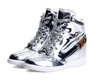 Wholesale womens wedges sneakers - HOT SALE! womens lacing casual elevator shoes female high top wedge sneakers women fashion sports shoes 6cm elevator gold color and silver c