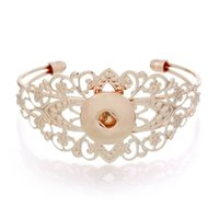 Discount christmas pearl strand - SALE! 925 sterling silver Fashion jewelry Bracelets Round rose gold Fit noosa Snaps Buttons Flower Pattern Hollow Ginger Snaps 10pcs