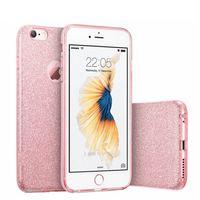 iphone sparkle cor-de-rosa venda por atacado-Caso para iphone 8 x glitter luxo bonito menina senhora bling rosa de ouro rosa slilcone sparkle tampa do telefone coque