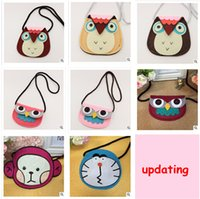 Wholesale Girls Owl Top - Shoulder Owl Purses Top Quality Children's Accessories Animal Purses Cartoon Purse for Baby Girl Cross Body Owl Coin Purse Kids Wallet 790m