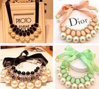 Wholesale Dress Bibs - Lady Pearl Tassel Choker Necklace Fashion Bib Jewellery Pendant Statement Necklaces Valentine Day Gift For Women Dress -J246