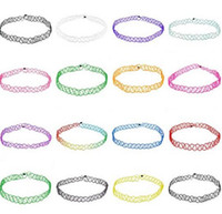 Wholesale Elastic Plastic Rope - Vintage hippy stretch tattoo choker necklace Elastic lines Punk Grunge Statement Necklaces Jewelry for women wholesale