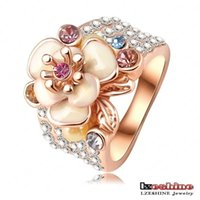 Wholesale Enamel Ring Crystal - Hotting Sale Jewelry Ring With Rose Gold Plate SWA Elements Austrian Crystal Enamel Flower Wedding Ring For Women Ri-HQ0155