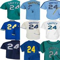 Wholesale Womens Boys Shorts - Hot sale 2015 Newest Mens Womens Kids Seattle #24 Ken Griffey Navy Blue Green White Flex Cool Base Baseball Jerseys Cheap