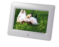 Wholesale Lcd Tft Mp4 - 7 inch TFT LCD Wide Screen Desktop Digital Photo Frame with SD MMC white 1pcs