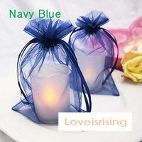 Wholesale Navy Gift Bag - 16 colors Pick--100pcs Navy Blue 10*15cm Sheer Organza Bag Wedding Favor Supplies Gift Candy Bag