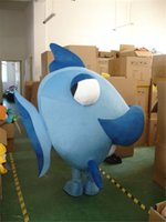 Wholesale Adult Clown Fish Mascot - Adult Size Blue Sea Fish Mascot Christmas Blue Fish Cartoon Costume Christmas Birthday New Year Party Fancy Dress Free Shipping