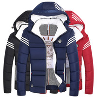 Wholesale Short Wind Coat - Fashion Winter Hooded Coat Men's Winter Short Thickened Padded Collar Casual Down Jacket