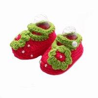 Wholesale Knitted Baby Shoe Flower - 3Colors Hand Crochet Baby Newborn Flowers Knitting Wool Crib Shoes Princess Girls' Prewalkerss 0-12M customer