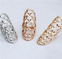 altın tırnak yuvası 18k toptan satış-Unisex Altın Gümüş Kaplama Avrupa moda stil büyüleyici rhinestone hollow alaşım abartılı geometrik parmak tırnak yüzük