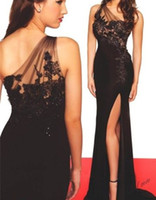 Wholesale Long One Leg Dress - 2016 Free Shipping One Shoulder Sleeveless Mermaid Applique Sexy Left Leg Side Slit Evening Dress For Prom Party Gown Bridesmaid Dresses QM