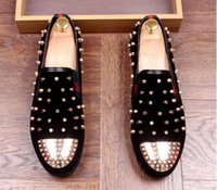 Wholesale Punk Heels - Promotion New spring brand new free shipping Fashion Mens Punk Studded Rivet Spike Suede Pointy Loafers red black Casual Dress Shoes AXX551