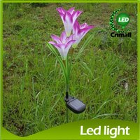 Wholesale Led Lily Flower Garden Light - 3led 4LED Flower Solar Light Solar Energy Lamp Lily Simulation Lanterns Courtyard Light LED Lawn Light Villa Garden Lamp Light Yard Solar