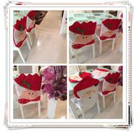 mesa de jantar cadeiras pano venda por atacado-2015 Novo Papai Noel Cadeira Cobre Casal De Natal Pano De Mesa De Jantar Decorações Boneco De Neve Decoração de Natal Suprimentos 6 pçs / lote